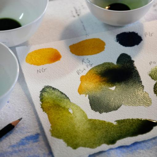 Fargepr¿ver akvarell pigmenter